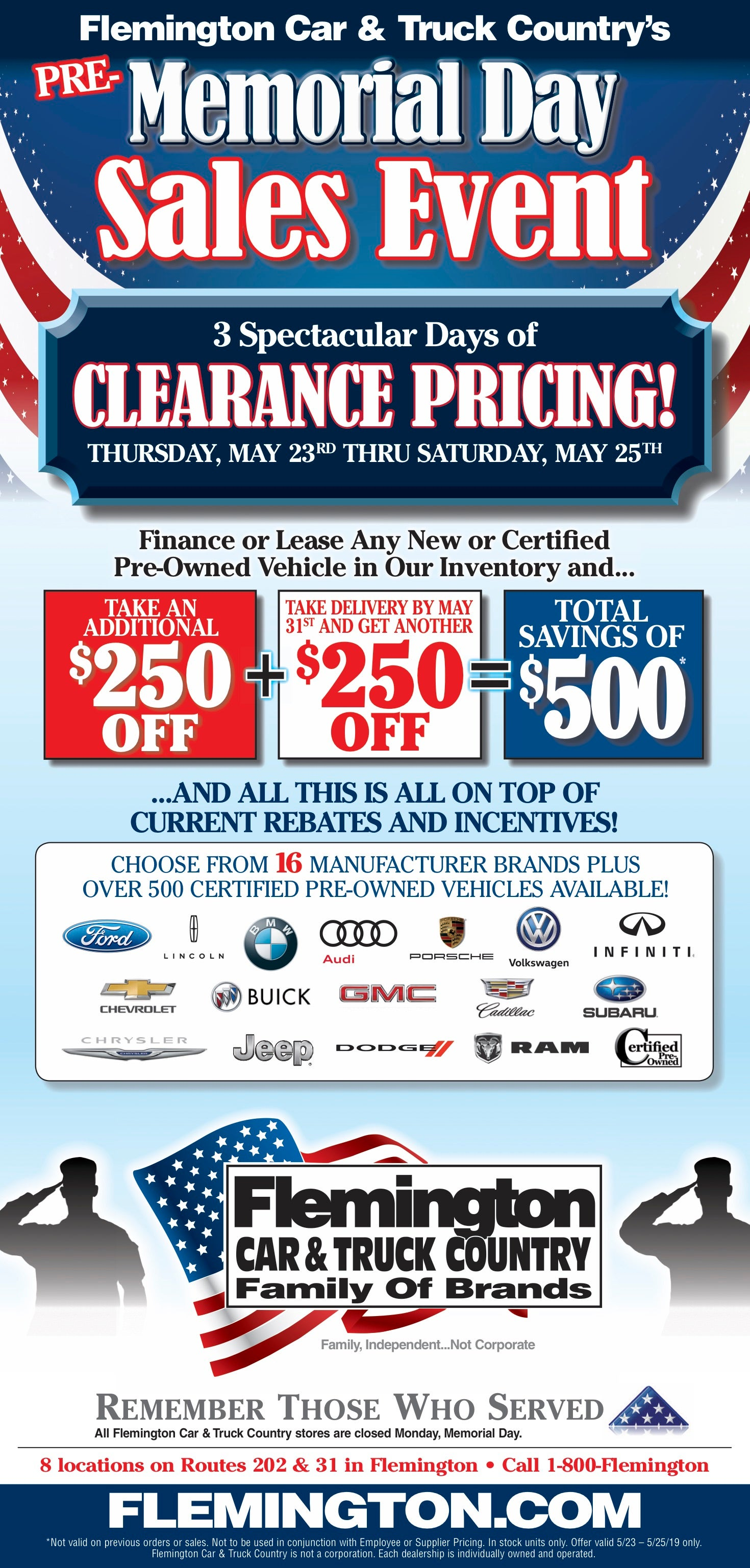 2019 Memorial Day Sales Event